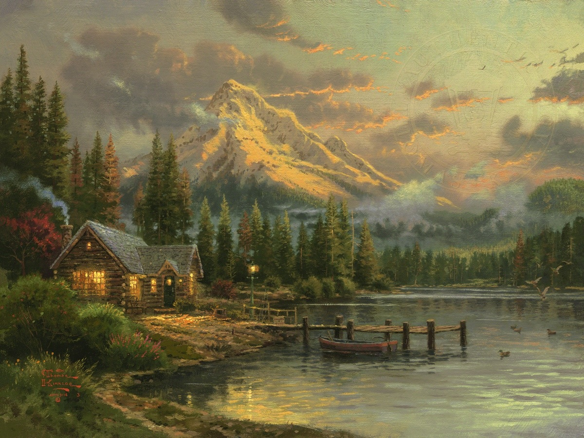 Fall Cabin The Woods Wallpaper Lakeside Hideaway Limited Edition Art The Thomas