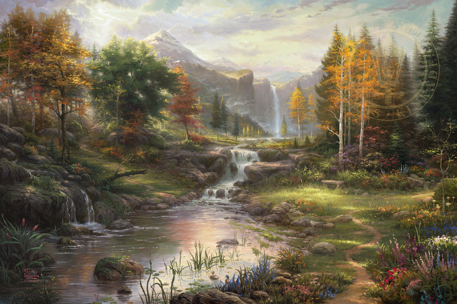 American Paint And Wallpaper Fall River Reflections Of Family The Thomas Kinkade Company