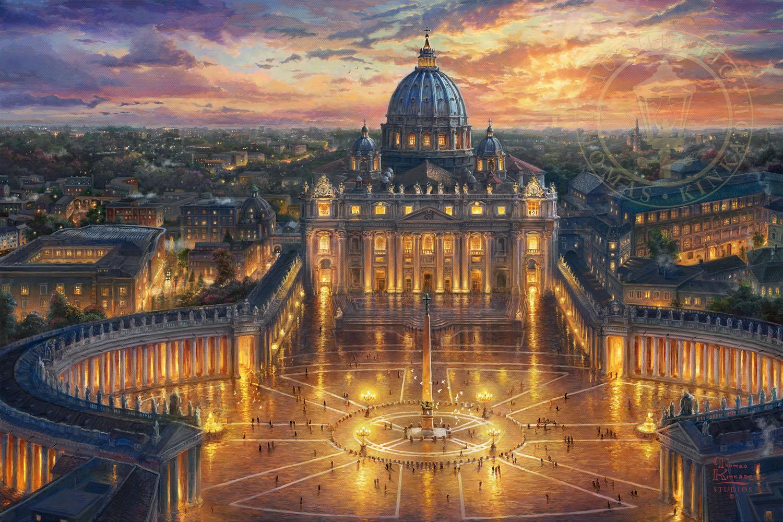Black And White Victorian Wallpaper Vatican Sunset Limited Edition Art Thomas Kinkade
