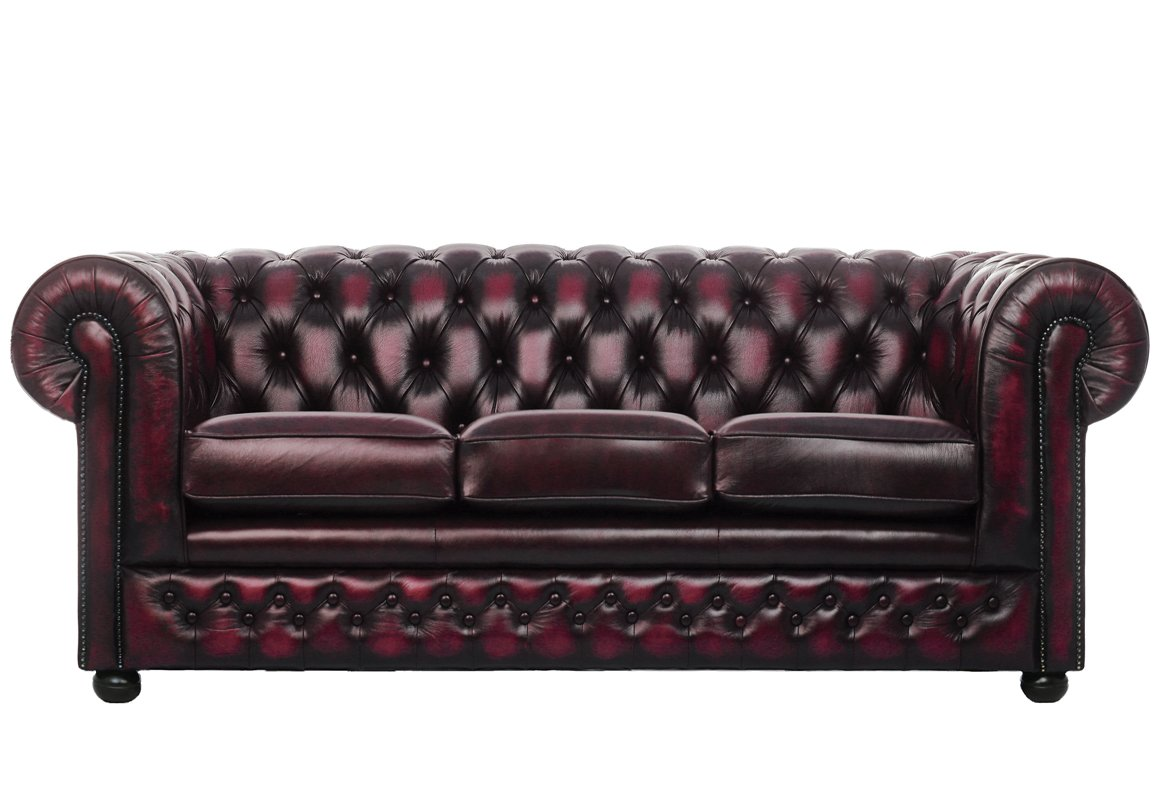 Chesterfield 3 Seater Leather Sofa Sale Now On
