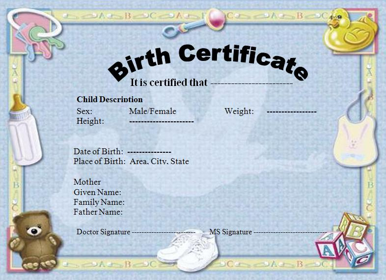 blank school certificate templates - Certificate Of Birth Template