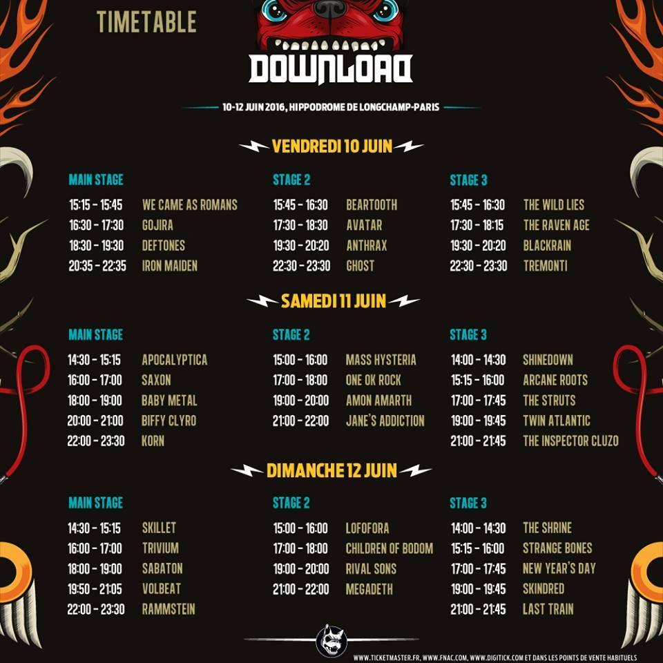 Download Festival France 2016 : Le Running Order est en ligne