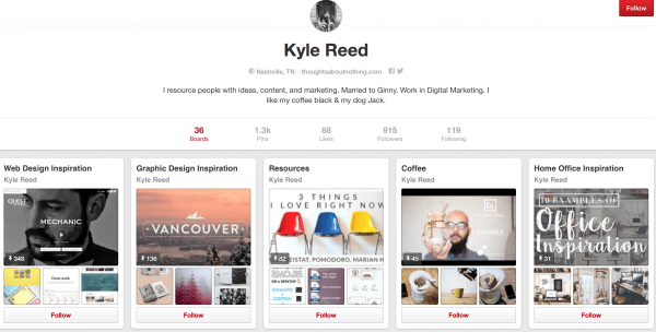 Kyle Reed Pinterest Board