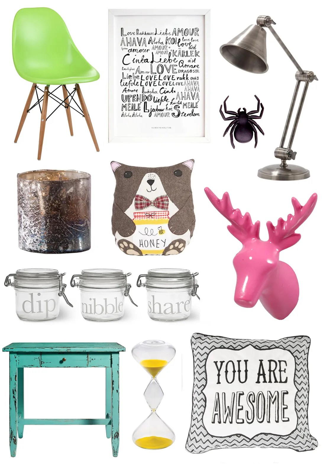 a home accessories wish list with achica thou shalt not