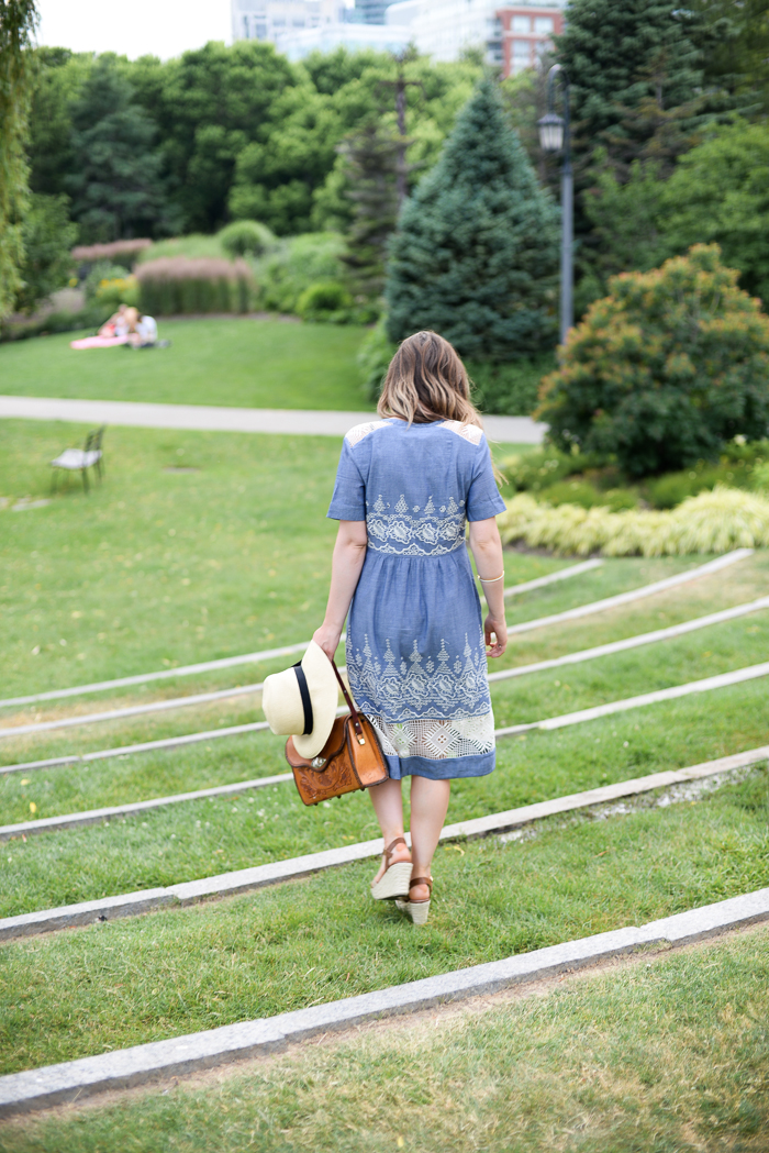 The Music Garden in Anthropologie chambray dress
