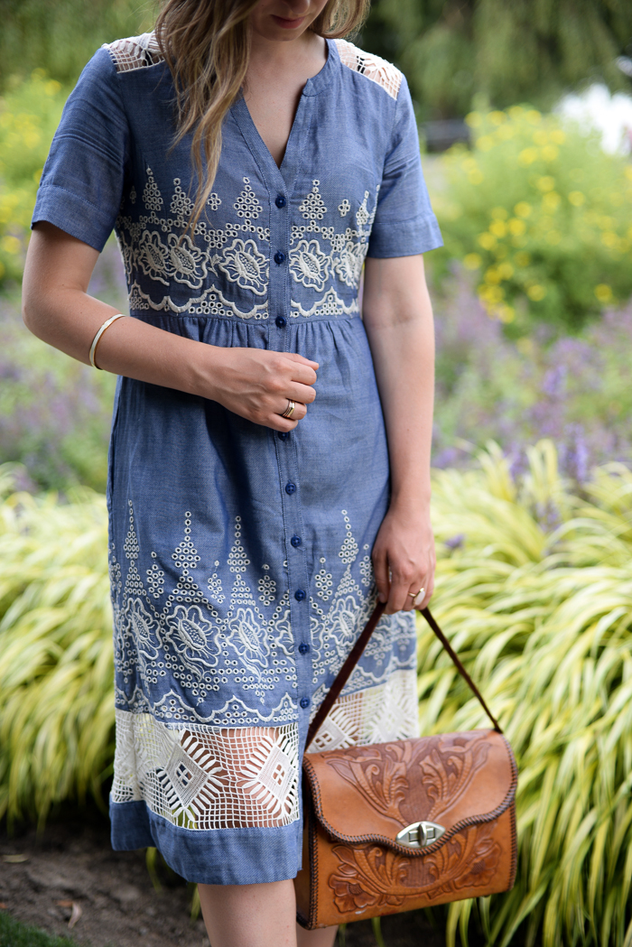 Anthropologie lace and chambray dress worn in the Music Garden