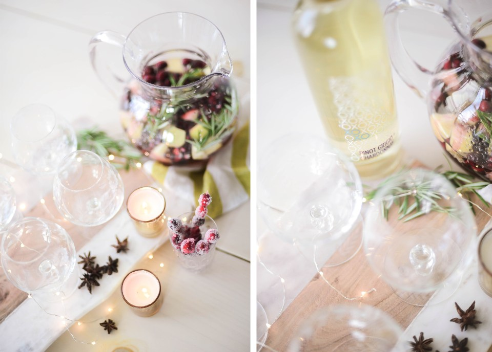 White sangria recipe. Winter sangria made with XOXO wine and has hints of cranberry, pomegranate, ginger, and more to make this a great holiday cocktail!