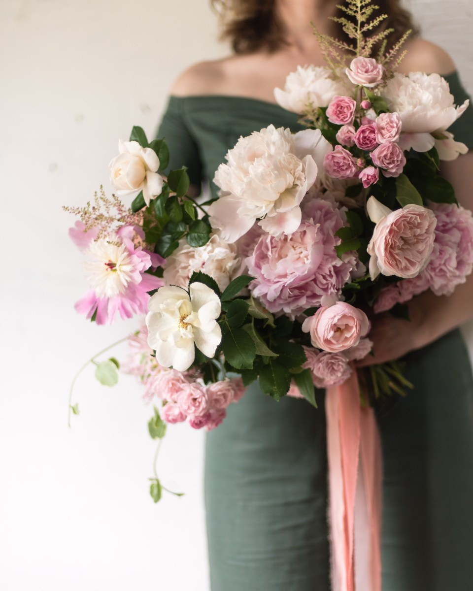 Bridal Bouquet of Peonies and Roses
