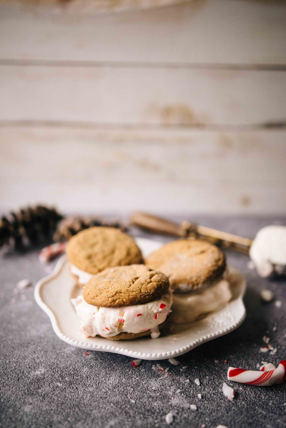 Homemade Candy Cane Ice Cream and Ginger Molasses Cookies for Christmas Ice Cream Sandwiches