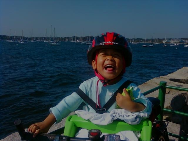 Li Li enjoyed looking at the water and the boats in Bristol harbor.