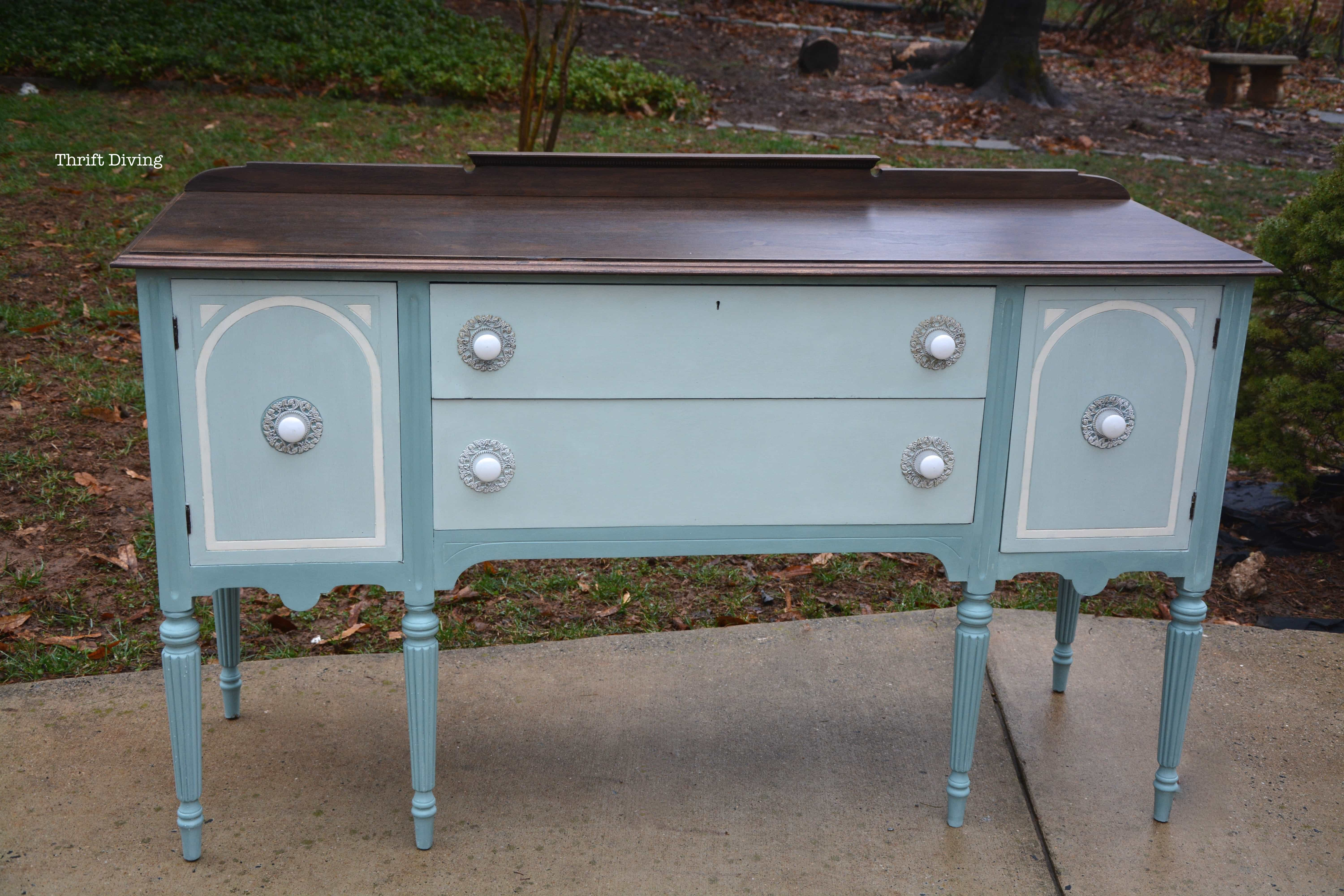 Buffet Sideboard Blue Before And After A Vintage Buffet Makeover Thrift Diving Blog