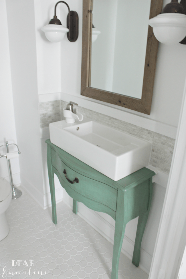 Before After Jessica39s Gorgeous Narrow Half Bathroom