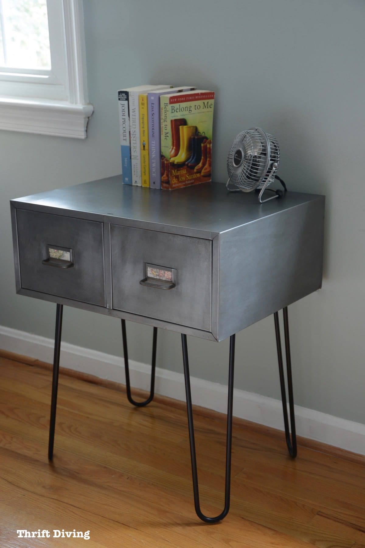Before After Vintage Metal Cabinet With Hairpin Legs