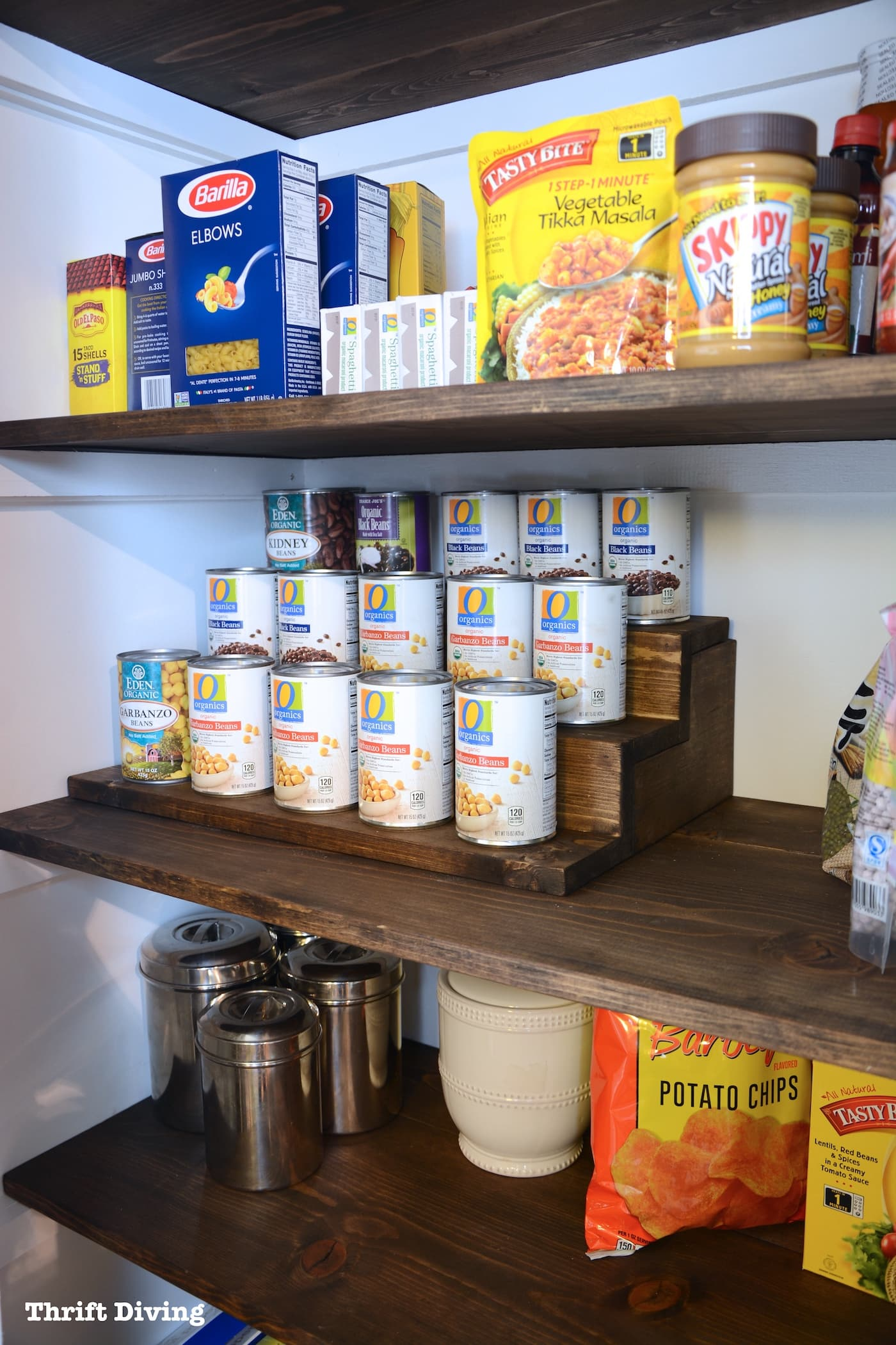 Pantry Shelves Pantry Makeover And Can Food Organizer With Hidden Storage Inside