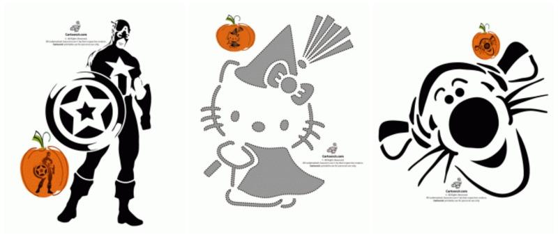 FREE Printable Pumpkin Stencils Avengers, Hello Kitty, Disney