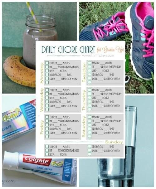 Printable Daily Health \u0027Chore Chart\u0027 for Grown-Ups - Thrifty Jinxy - daily chore