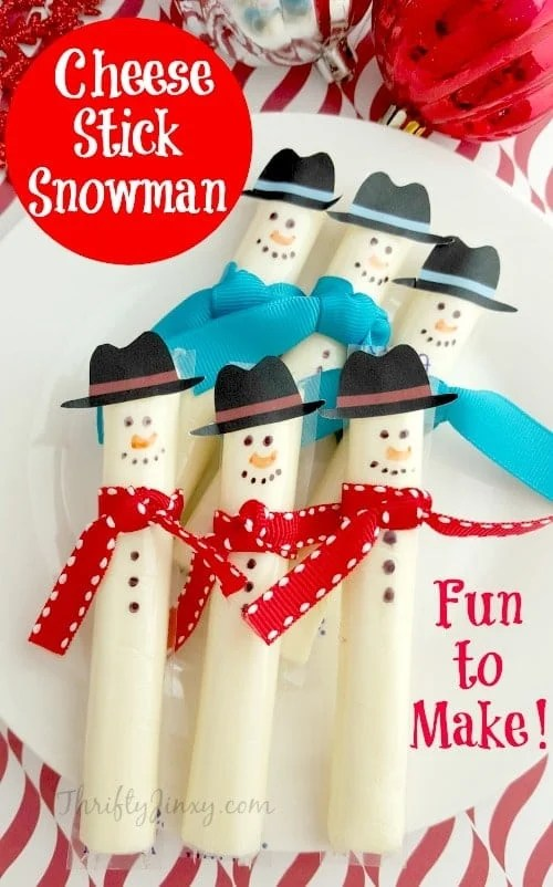 Easy Cheese Stick Snowman with Printable Hats - Thrifty Jinxy