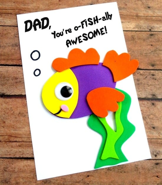 DIY Father\u0027s Day Fish Card with Printable Template - Thrifty Jinxy - father day cards