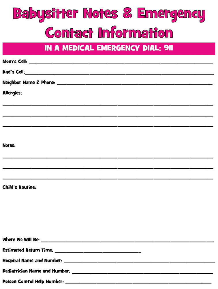 babysitting papers for parents to fill out