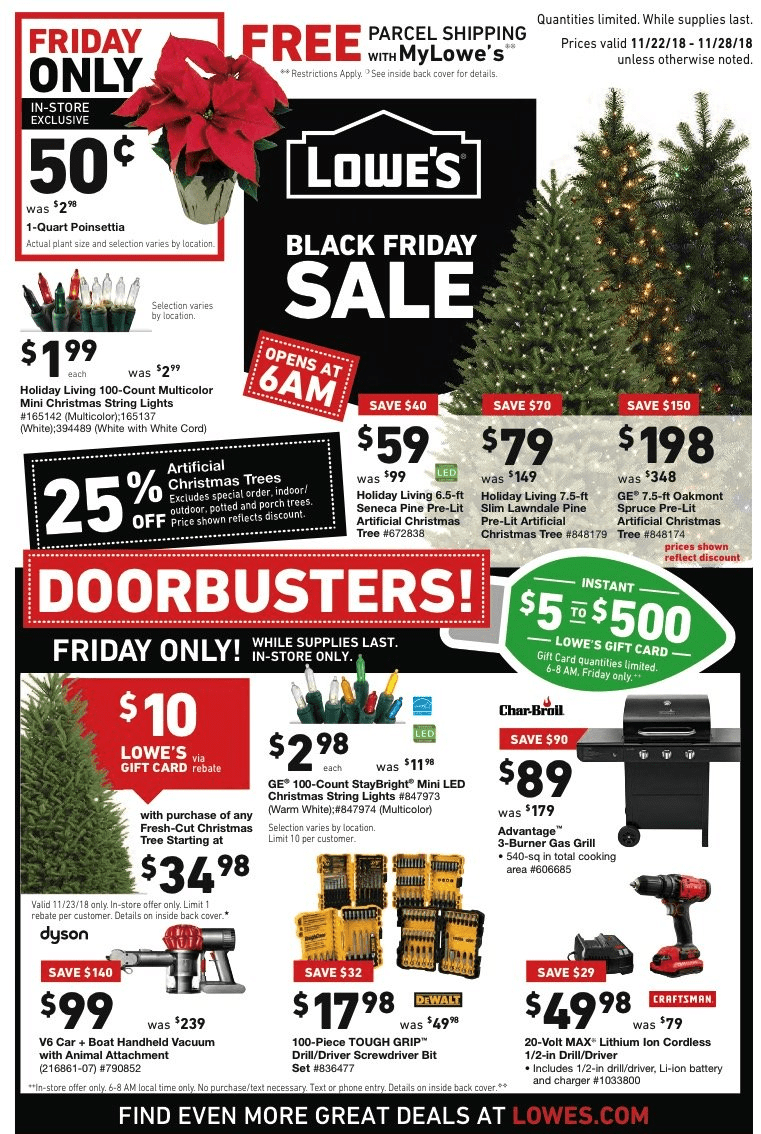 Www Black Friday Lowes Black Friday Deals For 2018 Artificial Christmas Trees As