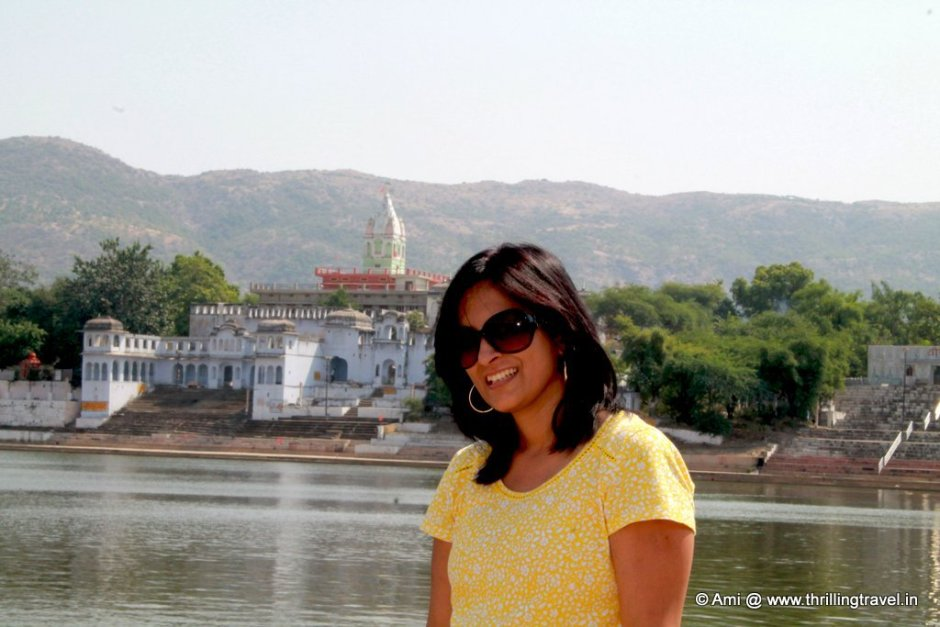 Me at Pushkar Lake. Check out the temple in the background