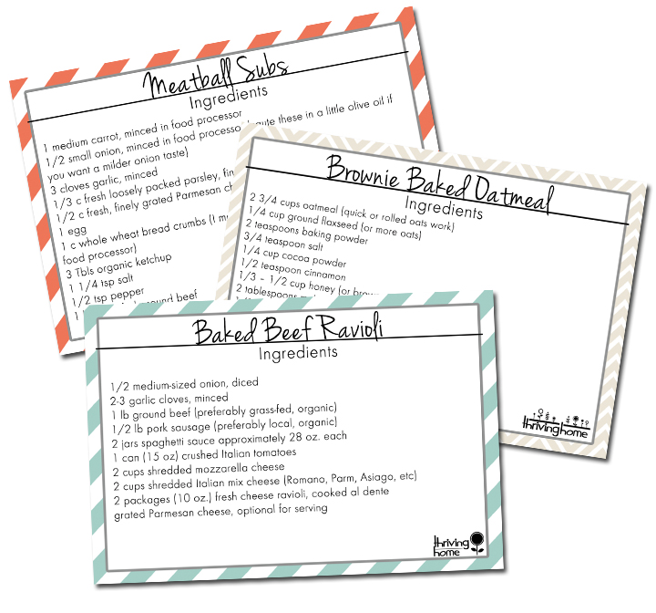 5 Printable Recipe Cards Our Favorite Freezable Recipes! Thriving