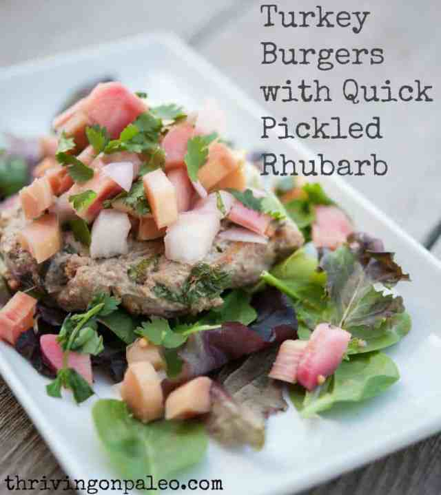 Turkey Burgers with Quick Pickled Rhubarb by Thriving on Paleo