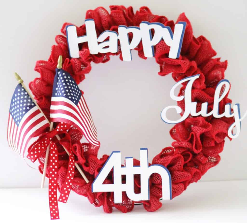 Diy 4th Of July Burlap Ribbon Wreath With Cricut Through My Front Porch