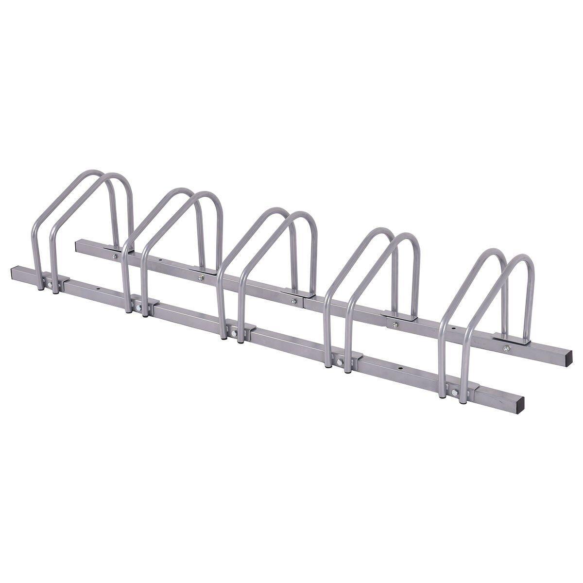 Adjustable Bike Rack 5 Bicycle Floor Parking Stand Storage