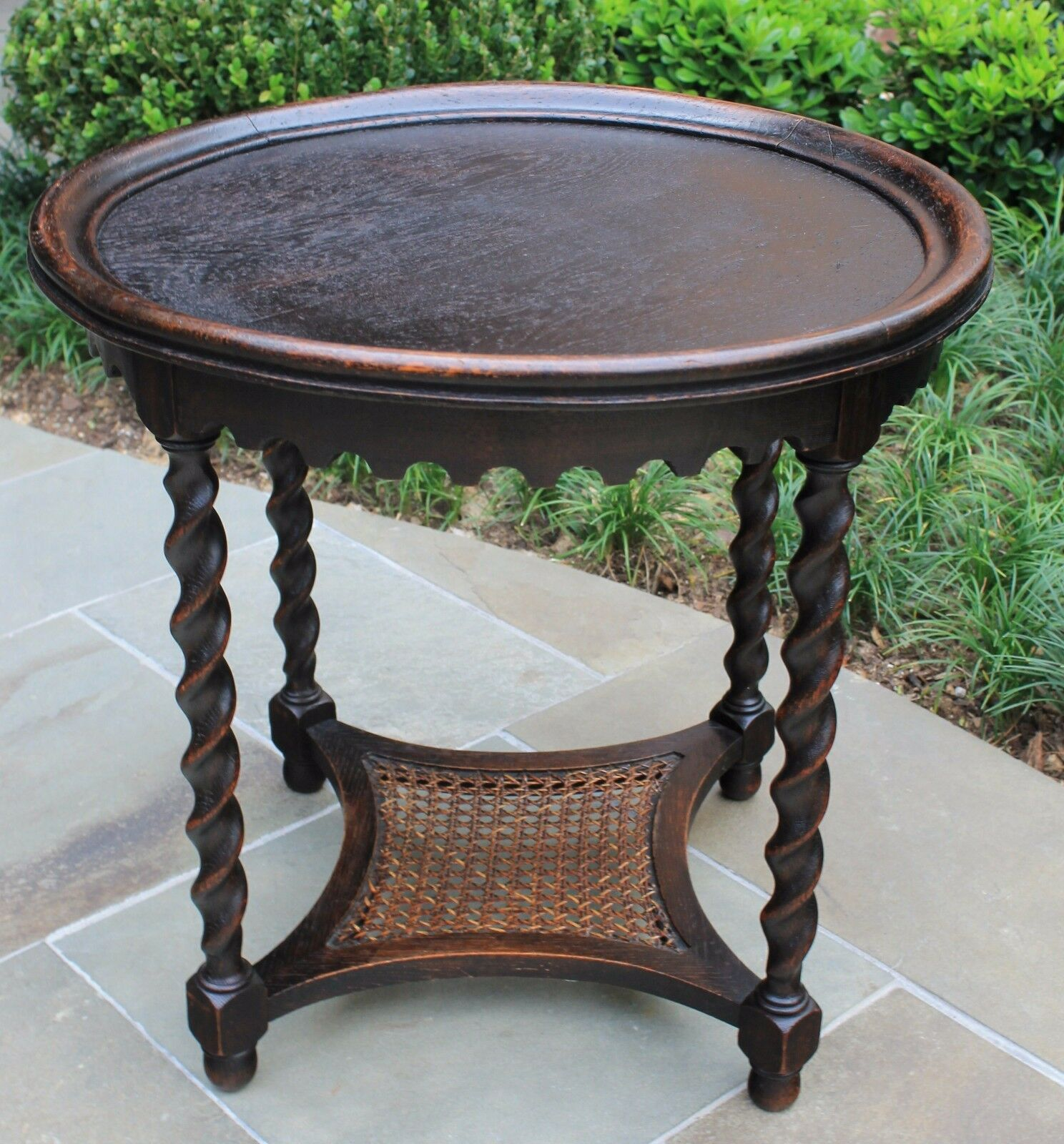 Round Oak End Tables Antique French Oak Round Barley Twist End Lamp Side Night