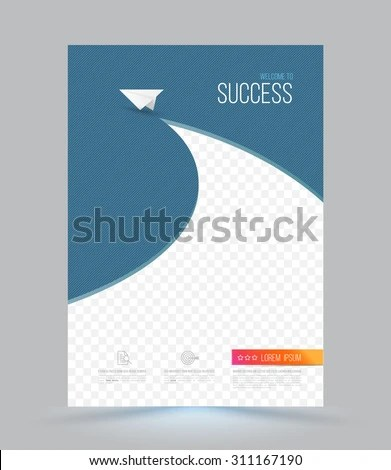 Cover Page Layout Template Paper Airplane Stock Photo (Photo, Vector