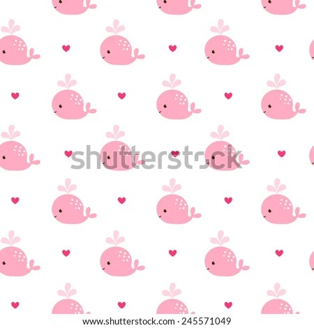 Cute Background Cartoon Pink Whales Baby Stock Photo (Photo, Vector
