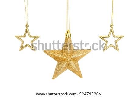 Three Gold Glitter Christmas Star Decorations Stock Photo - christmas star decorations