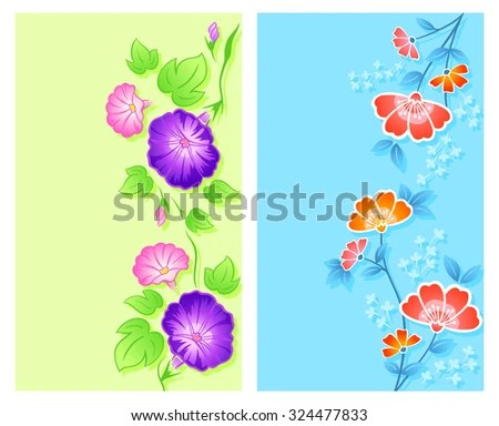 Vertical Floral Curtain Textile Wrapping Designs Stock Vector - vertical designs