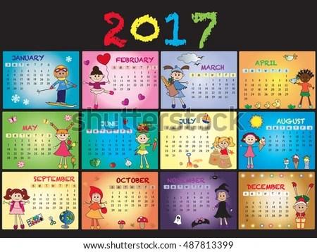 2017 Annual Calendar Template Stock Illustration 487813399 - annual calendar template