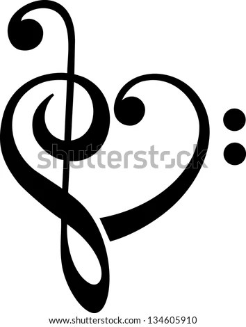 Bass Treble Clef Heart Music Classic Stock Vector 134605910 - clef music
