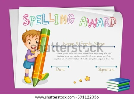 Spelling Award Certificate Template Kids Crayon Stock Vector (2018 - certificate template for kids