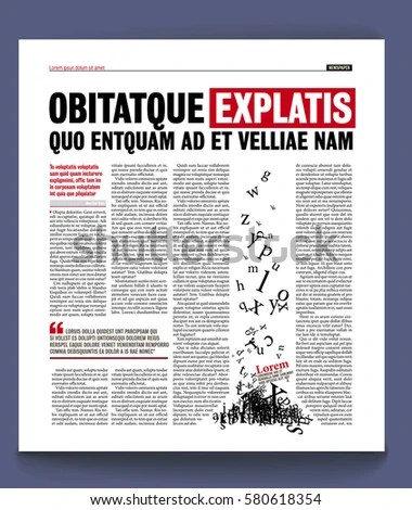 Graphical Design Newspaper Template Stock Vector 580634338 - online newspaper template