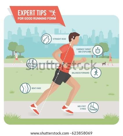 Proper Running Form Sports Ergonomics Infographic Stock Photo (Photo