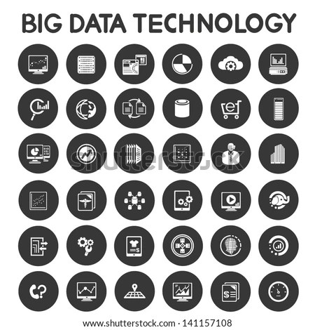 stock-vector-big-data-technology-icons-set-data-analytic-icons - data analytics resume