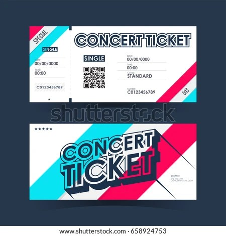Concert Ticket Card Element Template Design Stock Vector (2018