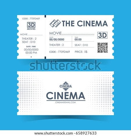 Cinema Ticket Card Element Template Design Stock Vector 658927633 - movie theater ticket template