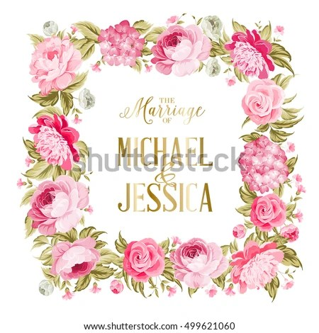 Wedding Invitation Template Border Red Flowers Stock Vector (Royalty