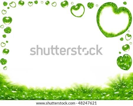 Green Spring Frame Grass Flowers Hearts Stock Illustration 48247621