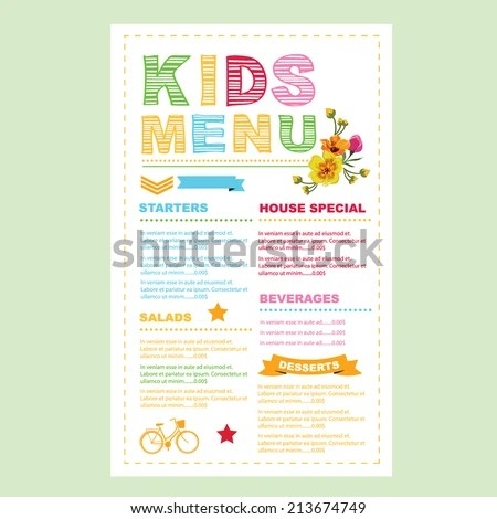 Kids Menu Vector Template Stock Vector 213674749 - Shutterstock