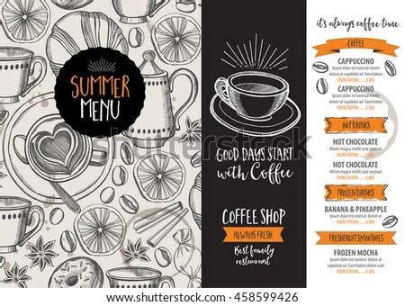 Coffee Restaurant Brochure Vector Coffee Shop Stock Vector (Royalty