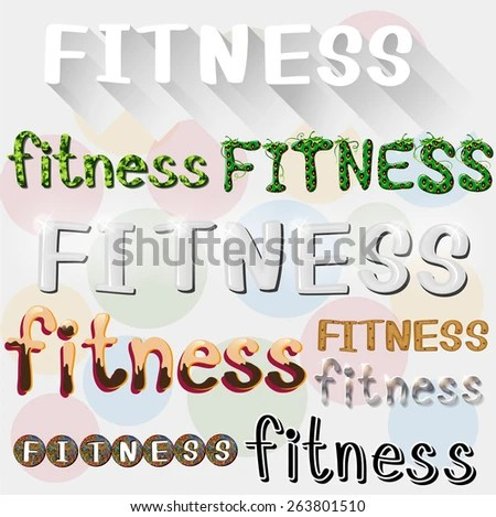Different Styles Writing Word Fitness Stock Vector 263801510