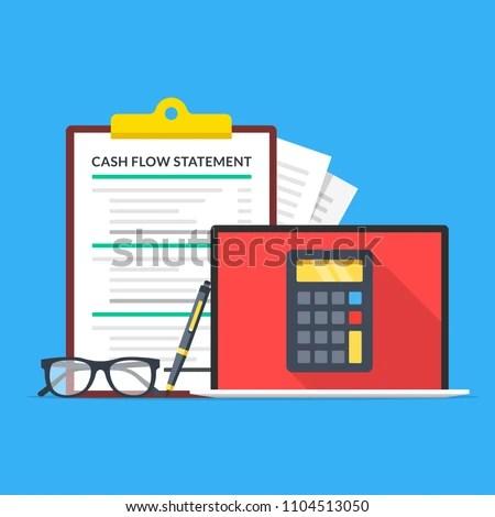 Cash Flow Statement Laptop Calculator On Stock Vector 1104513050