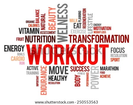 WORKOUT Word Cloud Fitness Health Concept Stock Vector 250553563
