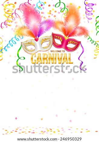 Bright Carnival Masks Confetti Golden Sign Stock Vector HD (Royalty - free carnival sign template